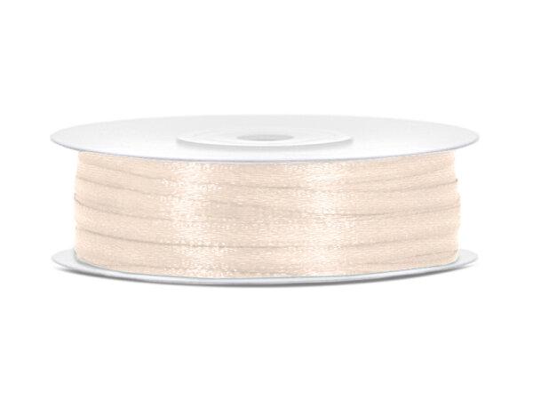 10x Satinband - 50 m - 3 mm - Sanftes Creme