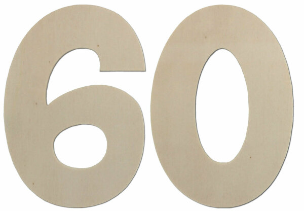 Deko Zahlen - Geburtstagsdeko 60 Geburtstag aus Holz - Geschenkideen & Tischdeko