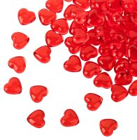 100 Acryl Herzen - Rot