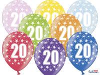 12 Ballons - 30 cm - Gemischt 20. Geburtstag