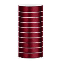 10x Satinband - 25 m - 12 mm - deep red