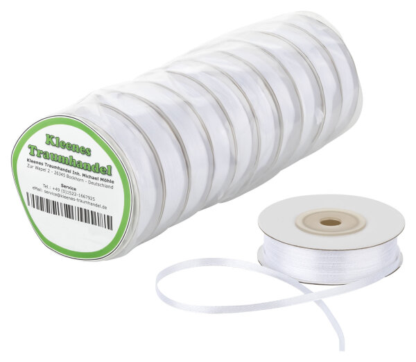 10x Satinband - 25 m - 12 mm - weiß