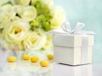 50x Geschenkbox klein mit Schleife - weiß