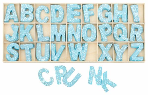 Kopie von Buchstabenkasten Blau - 5,4 cm hoch - je 4 Buchstaben