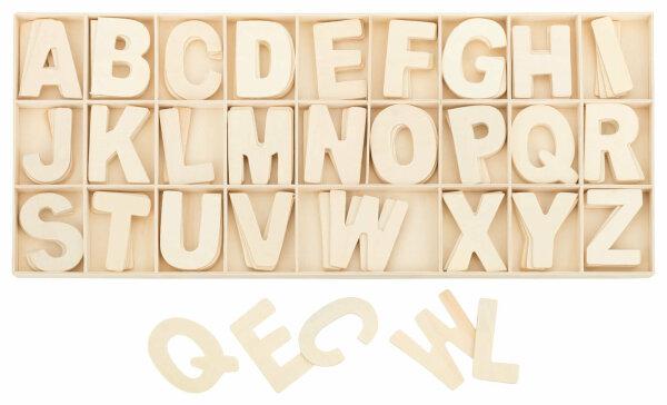 Buchstabenkasten Natur - 5,4 cm hoch - 104 Teile (je 4 Buchstaben)
