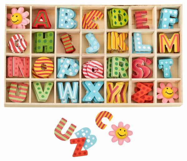 Buchstabenkasten Bunt - 2,5 cm hoch - je 4 Buchstaben mit Klebepunkten