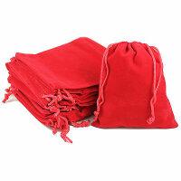 50 rote Samtbeutel Schmuckbeutel - 9x12 cm