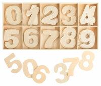 Zahlenkasten Natur - 4 cm hoch - je 4 Zahlen
