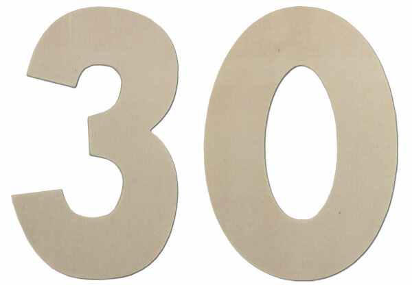 Deko Zahlen - Geburtstagsdeko 30 Geburtstag aus Holz - Geschenkideen & Tischdeko