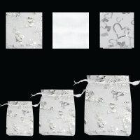 100 weiße Organzasäckchen - Schmuckbeutel -...